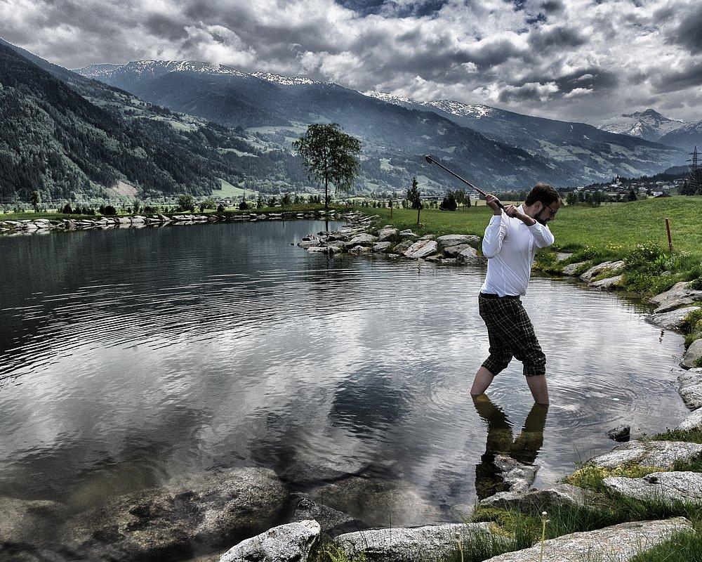 Philipp beim golfen