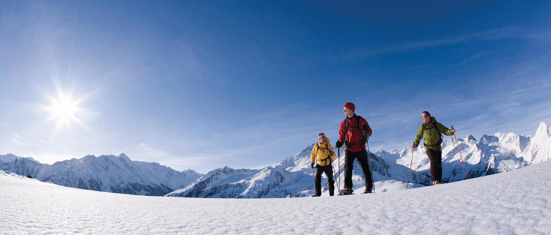 Bergkulisse Zillertal Schneeschuhwanderung