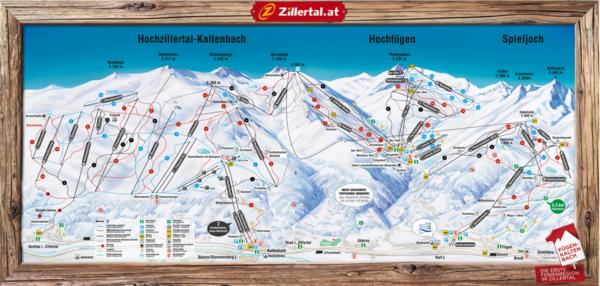 Zillertal Skigebiete in Fügen-Kaltenbach Panoramabild