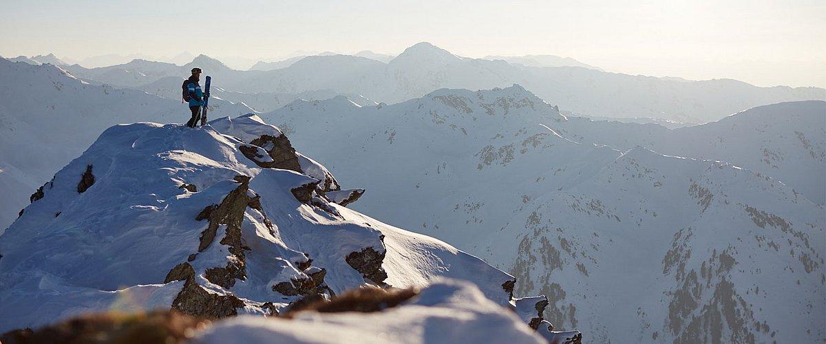 Aussicht Berge im Zillertal, Freeride Erlebnis